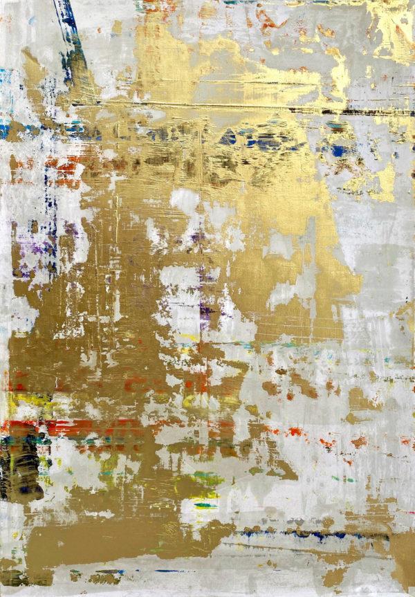 Art, Kunst, Öl, Oil, Bunt, color, Spachteltechnik, Papier, paper, squeegee, modern, Gemälde, artwork, studio, Atelier, gallery, gold
