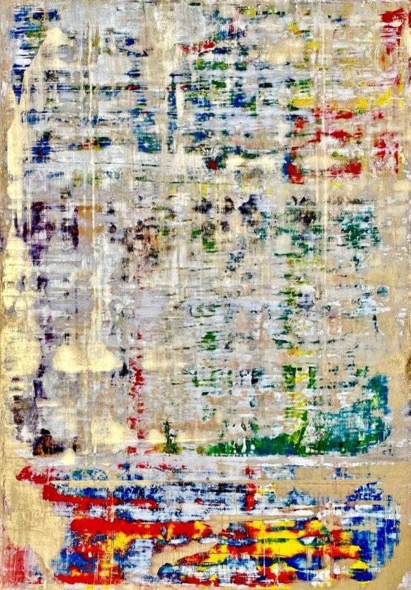 Art, Kunst, Öl, Oil, Bunt, color, König, King, Spachteltechnik, Papier, paper, squeegee, modern, Gemälde, artwork, studio, Atelier, gallery, gold