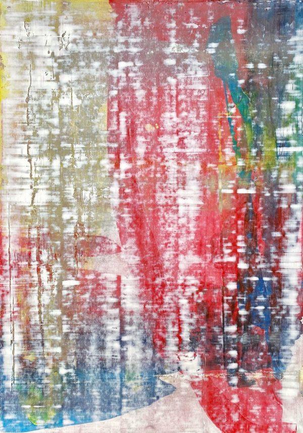 Art, Kunst, Öl, Oil, Bunt, color, Mit Dir, with you, Spachteltechnik, Papier, paper, squeegee, modern, Gemälde, artwork, studio, Atelier, gallery, gold