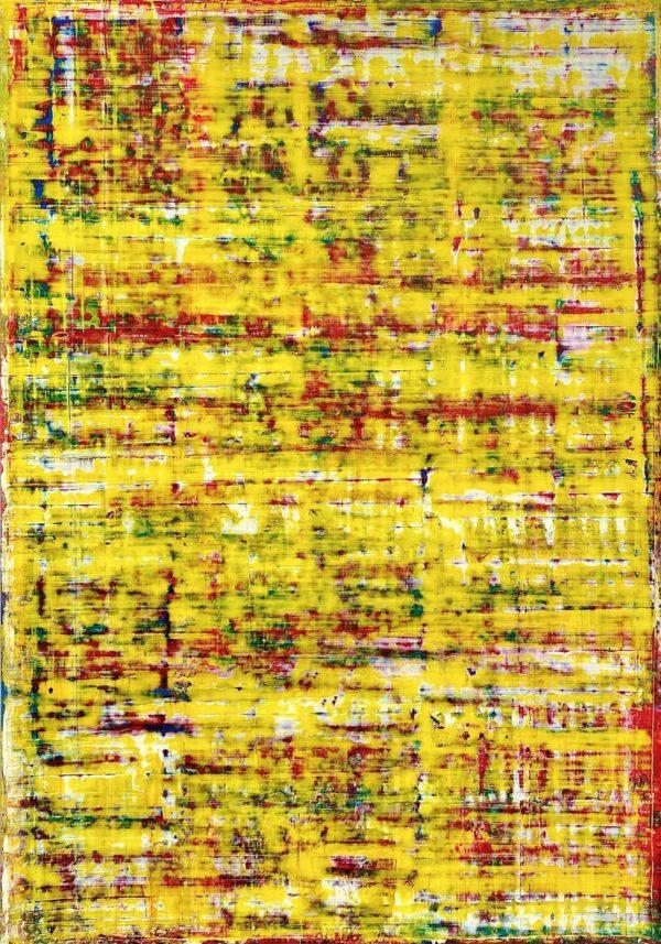 Art, Kunst, Öl, Oil, Bunt, color, Grundfarben, gelb, name, Spachteltechnik, Papier, paper, squeegee, modern, Gemälde, artwork, studio, Atelier, gallery, yellow art